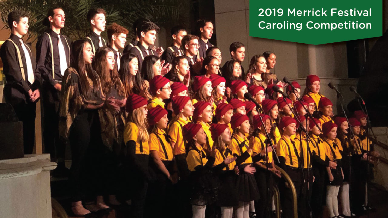 "The combined Archimedean Academy (Elementary) and Archimedean Upper Conservatory (High School) Chorus ""Chorodia"" performing on December 5, 2019 in the Caroling Competition"